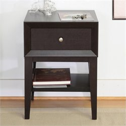 Baxton Studio Gaston Accent Table and Nightstand in Dark Brown