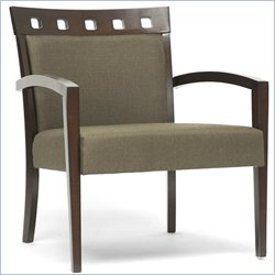 Baxton Studio Carmela Accent Chair in Green and Brown