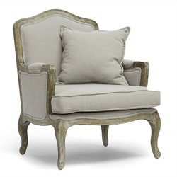 Baxton Studio Constanza Classic Antiqued French Accent Chair in Beige