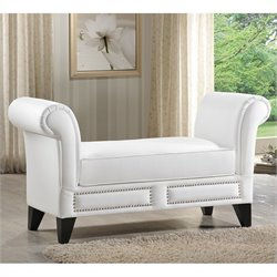 Baxton Studio Marsha Scroll Arm Bench in White