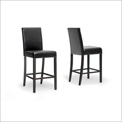 Baxton Studio Torino Bar Stool in Dark Brown (Set of 2)