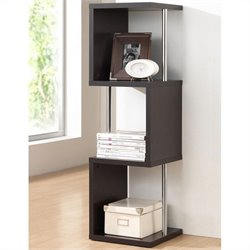 Baxton Studio Lindy 3-Tier Display Shelf in Dark Brown