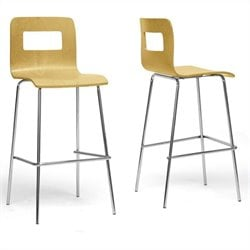 Baxton Studio Greta Bar Stool in Natural (Set of 2)