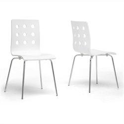 Baxton Studio Celeste Dining Chair in White (Set of 2)