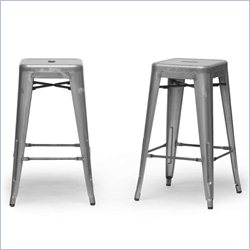 Baxton Studio French Industrial Counter Stool in Gunmetal (Set of 2)