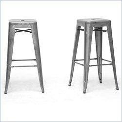 Baxton Studio French Industrial Bar Stool in Gunmetal (Set of 2)