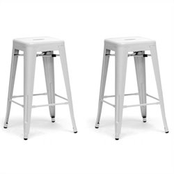 French Industrial Counter Stool in White (Set of 2)