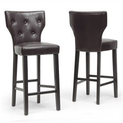 Baxton Studio Billings Bar Stool in Dark Brown (Set of 2)