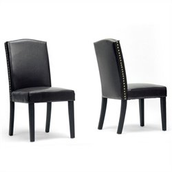 Baxton Studio Trullinger Dining Chair in Dark Brown (Set of 2)