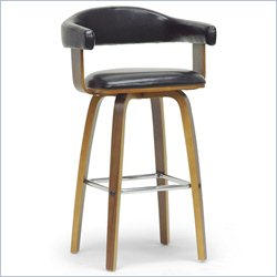 Baxton Studio Quigley Counter Stool in Walnut and Black
