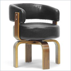 Baxton Studio Fortson Accent Chair in Walnut and Black