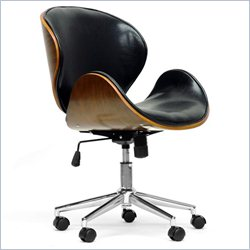 Baxton Studio Bruce Office Chair in Walnut and Black