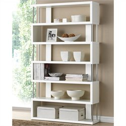 Barnes 6 Shelf Modern Bookcase in White