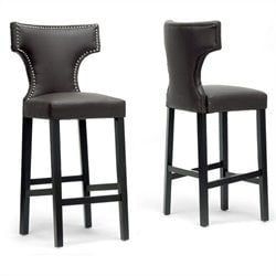 Baxton Studio Hafley Bar Stool in Brown (Set of 2)