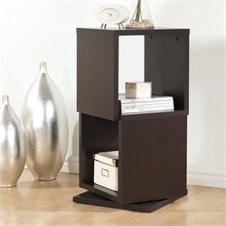 Baxton Studio Ogden 2-level Rotating Bookshelf in Dark Brown