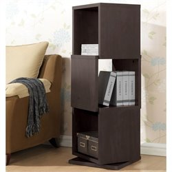 Baxton Studio Ogden 3-level Rotating Bookshelf in Dark Brown