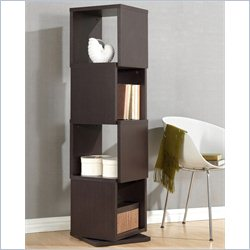 Baxton Studio Ogden 4-level Rotating Bookshelf in Dark Brown
