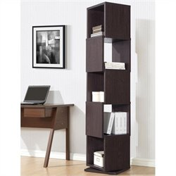 Baxton Studio Ogden 5-level Rotating Bookshelf in Dark Brown