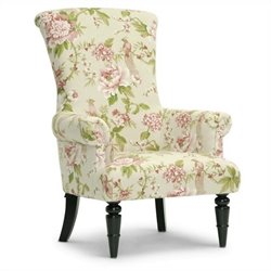 Baxton Studio Kimmett Accent Chair in Beige and Pink