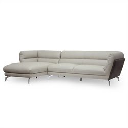 Baxton Studio Quall 2 Piece L-shaped Sectional Sofa in Gray