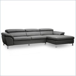 Baxton Studio Voight Sectional Sofa in Dark Gray