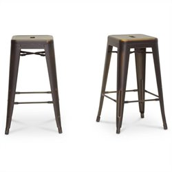 French Industrial Counter Stool in Antique Copper (Set of 2)