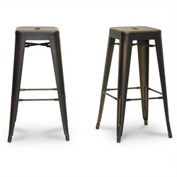 French Industrial Bar Stool in Antique Copper (Set of 2)