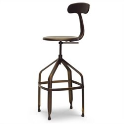 Architect's Industrial Bar Stool with Backrest in Antiqued Copper