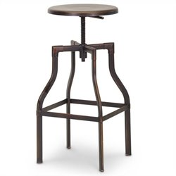 Architect's Industrial Bar Stool in Antiqued Copper