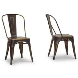 French Bistro Dining Chair in Antiqued Copper (Set of 2)