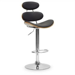 Baxton Studio Modana Bar Stool in Walnut and Black