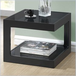 Baxton Studio Clara End Table with 2 Glass Shelves in Black