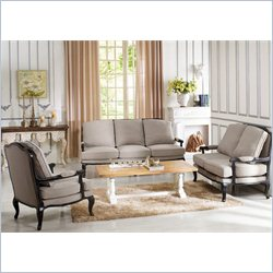 Baxton Studio Antoinette Classic Antiqued French Sofa Set in Neutral Gray-beige