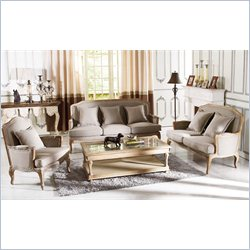 Baxton Studio Constanza Antique French Sofa Set in Neutral Gray