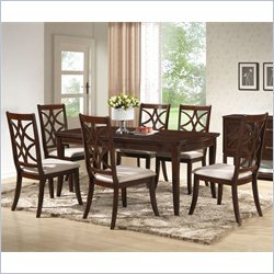 Baxton Studio Glenview 7-Piece Dining Set in Brown