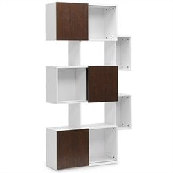 Baxton Studio Harriette Bookshelf in White and Walnut