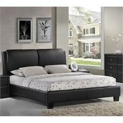 Baxton Studio Sabrina Black Modern Queen Platform Bed with Overstuffed Headboard