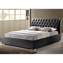 Baxton Studio Bianca Full Bed with Tufted Headboard in Black