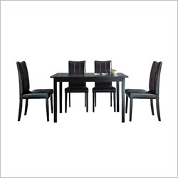 Baxton Studio Eden 5 Piece Dining Set in Dark Brown