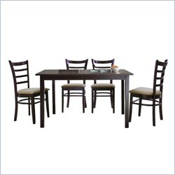 Baxton Studio Lanark 5 Piece Dining Set in Dark Brown