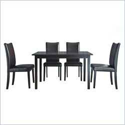 Baxton Studio Berreman 5 Piece Dining Set in Dark Brown