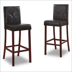 Baxton Studio Curtis Bar Stool in Dark Brown (Set of 2)