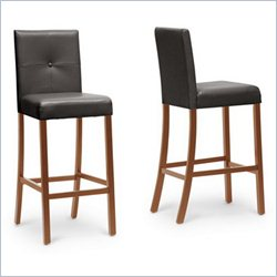 Baxton Studio Curtis Bar Stool in Dark Brown (Set of 4)