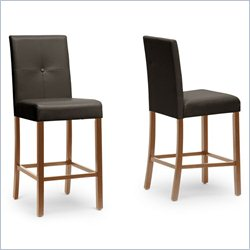 Baxton Studio Curtis Counter Stool in Dark Brown (Set of 2)