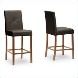 Baxton Studio Curtis Counter Stool in Dark Brown (Set of 4)