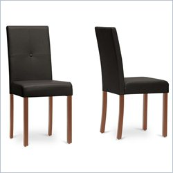 Baxton Studio Curtis Dining Chair in Dark Brown (Set of 2)