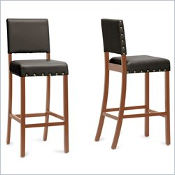 Baxton Studio Walter Bar Stool in Dark Brown (Set of 2)