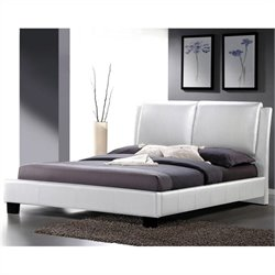 Baxton Studio Full Platform Bed with Overstuffed Headboard in White