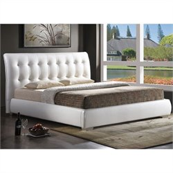 Jeslyn Full Platform Bed with Tufted Headboard in White