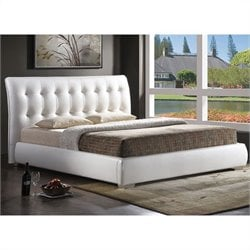 Baxton Studio Jeslyn Full Platform Bed with Tufted Headboard in White